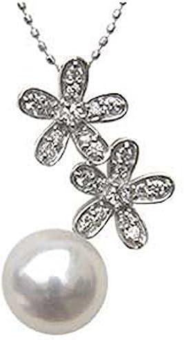 ペンダントトップ パール ペンダントヘッド wg ゴールド 真珠ペンダントチャームペンダント あこや真珠パール ホワイトゴールド 花 ネックレス ダイヤモンド