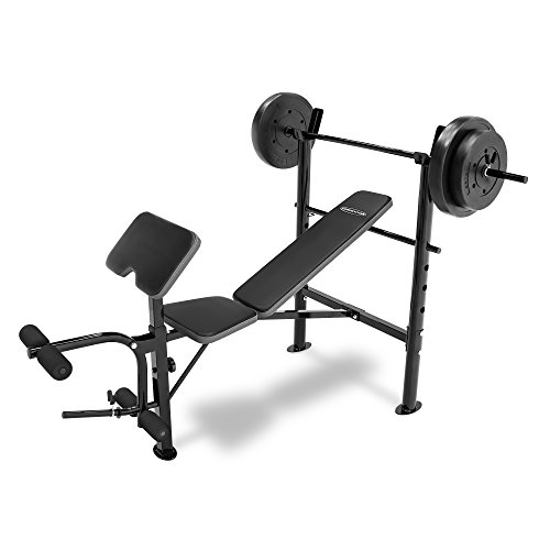 Competitor Marcy Workout Bench with 80 lbs Weight Set Combo (Black) – CB-20110 – DiZiSports Store