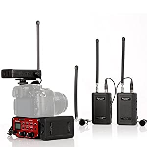 Saramonic SR-WM4C DSLR Camera Wireless Lavalier Microphone System Four Transmitters and Four Receivers with Saramonic Audio Mixer SR-PAX2 for Interviewing DSLR Camcorders by Saramonic