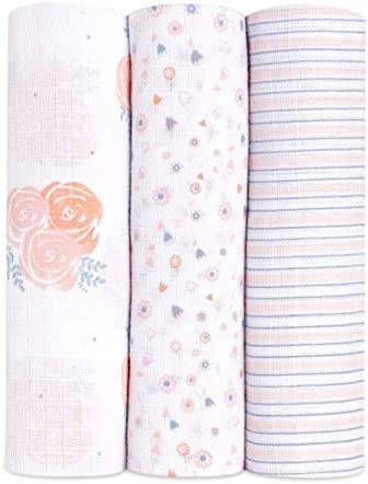 aden + anais Ideal Baby Swaddles, 3-Pack, Rosy