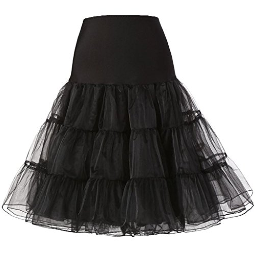 Swing Style Women's Dress petticoat Vintage Black Nihsatin Audrey Hepburn Rockabilly 04Idq1Yw