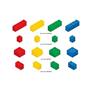 Sunny Decals Removable, Reusable and Repositionable Building Block Bricks Fabric Wall Decal – 16 Piece Set in 4 Different Colors – for Kids Rooms, Play Areas and Classrooms