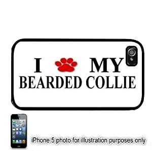 Bearded Collie Paw Love Dog Apple iPhone 5 Hard Back Case Cover Skin Black