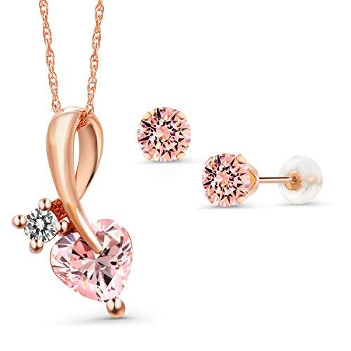 10K Rose Gold Pendant Earrings Set 6mm Set with Morganite Peach Zirconia from Swarovski ()