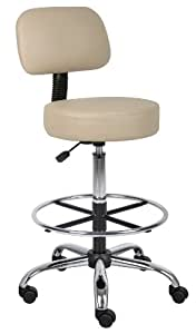 Boss Office Products B16245-BG Be Well Medical Spa Drafting Sool with Back in Beige