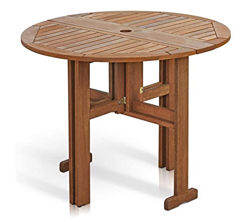 Furinnо Patio Outdoor Garden Premium Outdoor Hardwood Gateleg Round - Table Chairs Gateleg