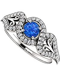 Round Sapphire CZ Cross Over Ring 925 Sterling Silver