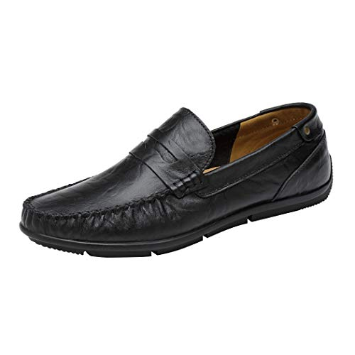 Leather Casual Driving Moccasins Premium Toe Loafers Shoes Black Penny on Genuine Slip LuckYoung Moc Men's a8Rat
