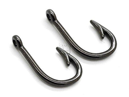 CRAFTMEmore Fish Hook Charm Pendants for Necklace Bracelet Key Chain Jewelry Making 10 PCS (Medium, Gunmetal) ()