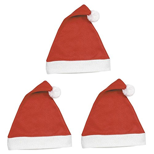 BestPysanky Set of 3 Felt Santa Claus Hats Christmas Decoration 16 Inches