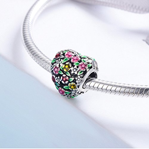 BAMOER 925 Sterling Silver Heart Charm Bead Love Charm Fit for Snake Chain Bracelet Spring Flower Charm by BAMOER (Image #3)