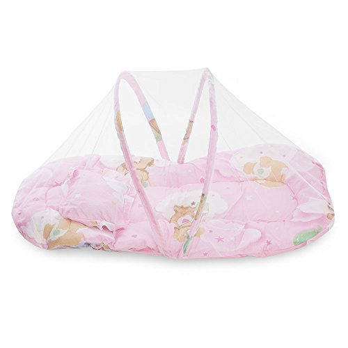 h mosquito bed with quilt foldable baby bed napkin cotton pad baby mosquito net ()