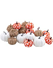 HBlife 24pcs Mixed Artificial Pumpkins Assorted Size and Color Harvest Pumpkin