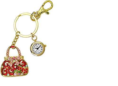 JAS Unisex Novelty Belt Fob/keychain Watch Gem Purse Gold Tone