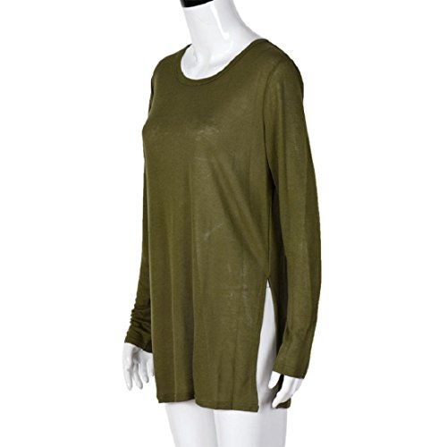 Tongshi Mujeres sueltas Jersey T Shirt manga larga Tops camisa blusa ejercito verde