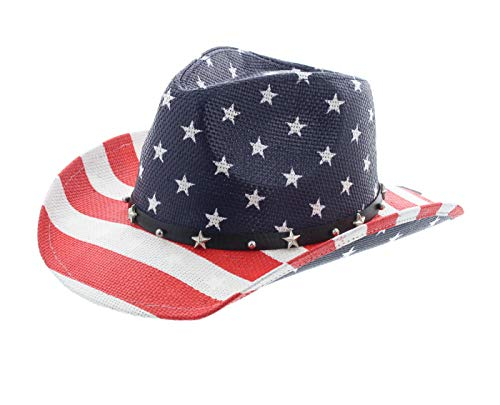 Milani Kids Vintage Style Stars and Stripes American Flag Patriotic Cowboy Hat (White)