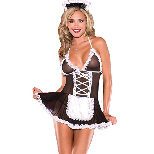 YKSH Woman's Sexy Lace Lingerie Outfits, Frisky French Maid Sexy Costume for ()