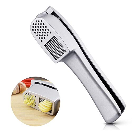 Garlic Press & Slice 2 in 1 - LOFAM 2018 New Aluminium Alloy Garlic Crusher Mincer Ginger Presses Garlic Press Kitchen Cooking Tools, Easy To Clean And Highly Durable