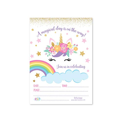 25 Unicorn Floral, Rainbow Magic Star Kids Birthday Invite or Faux Glitter Slumber Party Girl Invitation, Cloud Sparkle Themed Sleepover Invite Ideas, Sparkling Bday, Printed or Fill In the Blank Card]()