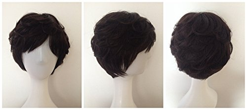 middle-aged mom real hair fluffy short curly wild hair wigsp Full real hair wig women girls female short hair Ms