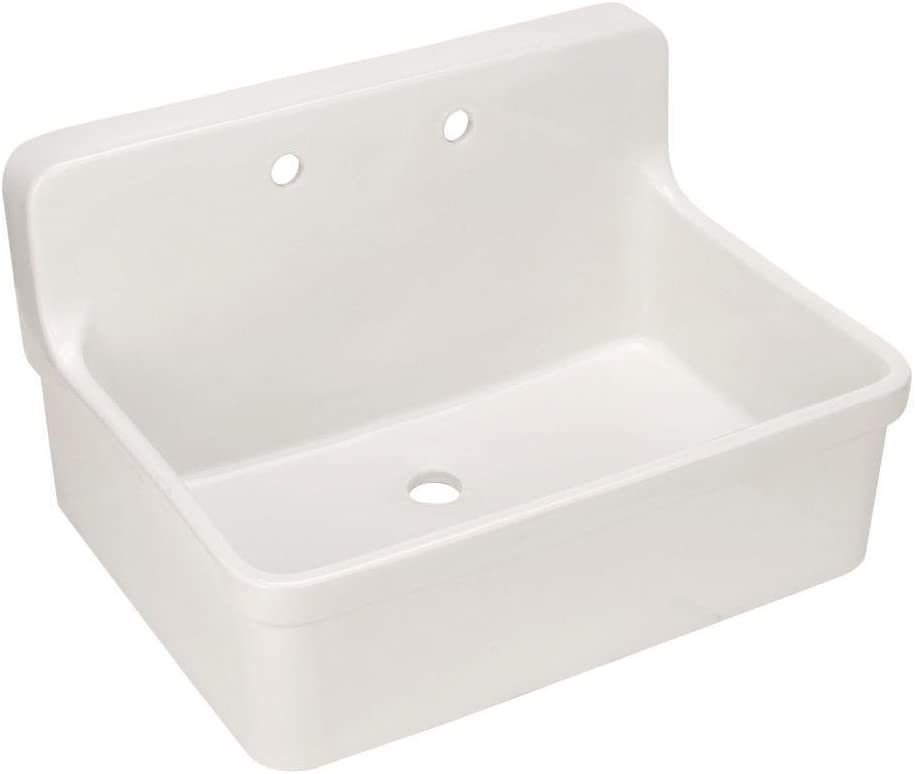 Gilford 30 In. x 22 In. Bracket-Mounted Scrub-up/Plaster Sink with 8 In. Widespread Faucet Holes, White