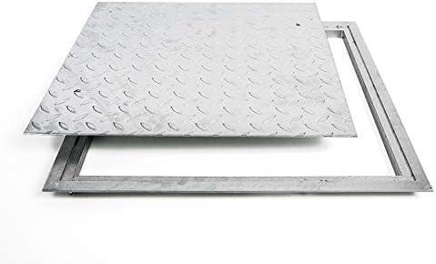 SA40 stalen schachtafdekking verzinkt beloopbaar 400 x 400 mm traanplaat deksel deksel met frame kanaalschacht vierkant vierkant
