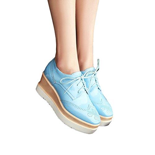 Susanny Womens Platform Wiggen Lace-up Wingtips Ronde Neus Oxfords Schoen Casual Lederen Sneaker Blauw