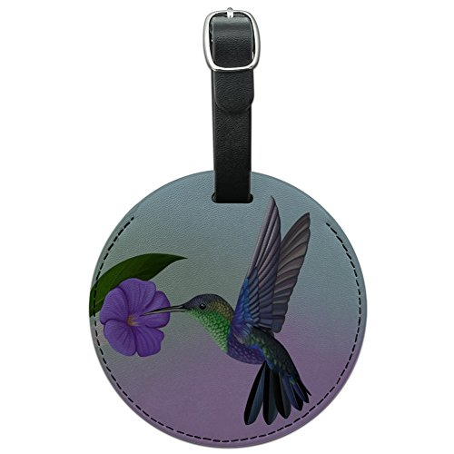 Hummingbird Crowned Woodnymph Purple Violet Round Leather Luggage Card ID Tag