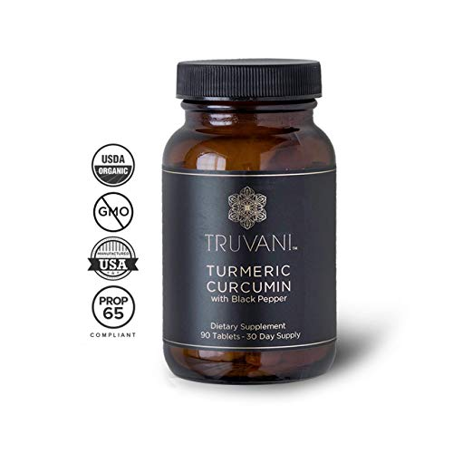 TRUVANI - Organic Turmeric Curcumin Supplement & Turmeric Root Powder - with Black Pepper for Improved Absorption | Anti-inflammatory, Joint Support & Stress Relief Supplement - 90 Vegan ()