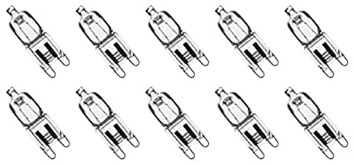 10 Pack Crystal Clear Lense 25W Q25/G9/CL/120V G9 JCD 25 Watt 120 Volt T4 JD Type Halogen House Hold Light Bulb Hanging Pendant Accent JCD Industrial Architect Desk Lamp Landscape Fixture Lighting