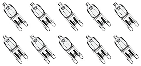 Value 10 Pack 25W Q25/G9/CL/120V G9 JCD 25 Watt 120 Volt T4 JD Type Glass Halogen Replacement Light Bulb Hanging Pendant Accent JCD Industrial Architect Desk Lamp Landscape Fixture Lighting High (25 Watt Type A Light Bulb)