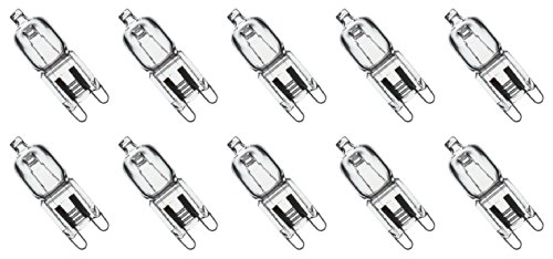 10 Pack Crystal Clear Lense 25W Q25/G9/CL/120V G9 JCD 25 Watt 120 Volt T4 JD Type Halogen House Hold Light Bulb Hanging Pendant Accent JCD Industrial Architect Desk Lamp Landscape Fixture Lighting (Really Small Fan)