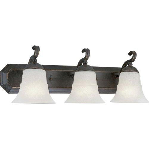 Melbourne Espresso Three Light (Progress Lighting P3023-84 3-Light Bath Bracket with Etched Water Glass, Espresso)