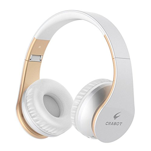Bluetooth Headphones On Ear, Crabot HD Stereo Wireless Headsets with Built-in Mic, 13H Play Time for Travel, Wireless Foldable Portable Headphones, Lightweight and Comfortable for Kids Adults White