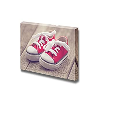 Magnificent Artistry, With Expert Quality, Red Baby Sneakers on Wooden Background Vintage Style Image