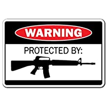 Protected By Ar-15 Warning Sign Gift Ammo Shotgun Pistol Gun Bullet Revolver Metal Signs Decorative Aluminum Sign for Home Wall Decor