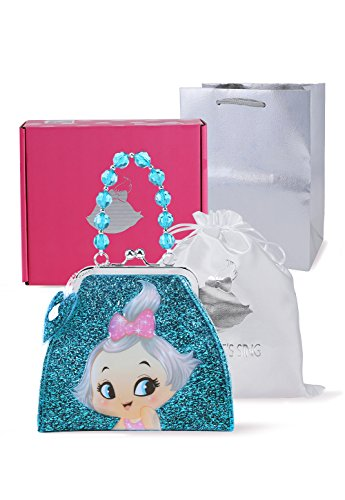 Princess Bags Girl Birthday Party Present Cute Cartoon Wallet Purse for Girls Kids Toddler Daughter Children HandBag for Age 3 4 5 6 7 8 9 10 Years Old Blue