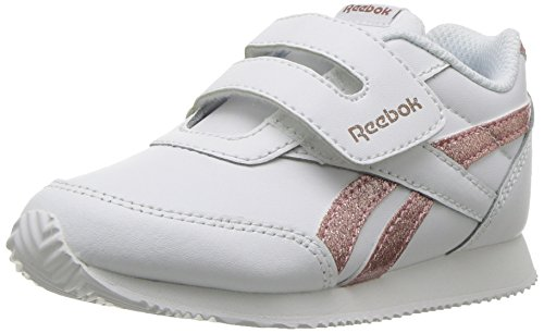 Reebok Baby Royal CL Jogger 2 KC Sneaker, White/Rose Gold Sparkle, 7 M US Toddler (Reebok For Kids Shoes)