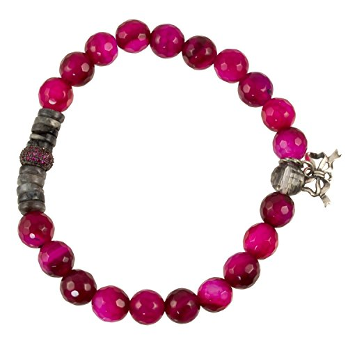(Deep Pink with Labradorite Spacers and Pink CZ Bead and Silver Plated Bow Charm - Stretch Bracelet )