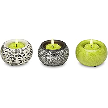 Up Words by Pavilion Chartreuse Mini Tea Light Candle Holders, Set of 3, Each 2-1/2-Inch Long, Tea Light Candles Included