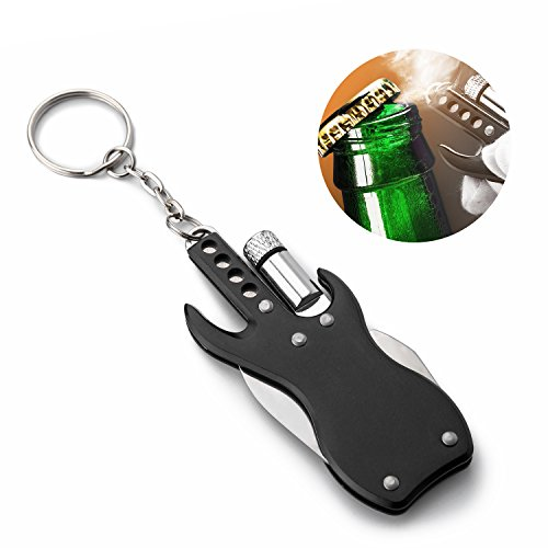 Key Chain Flashlight Guitar Multitool with LED Light, Knife and Bottle Opener for Keyring, Backpacking, Great EDC Survival Gear