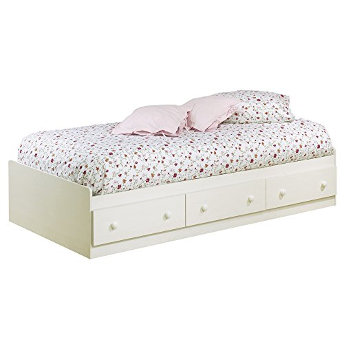 South Shore Summer Breeze Collection Twin (39'') Mates Bed - White Wash