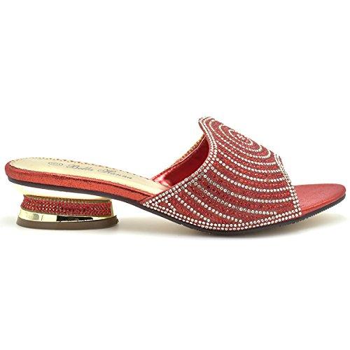 Bella Hanna Stylish & Comfort Women Low Heel Fashion Rhinestones Glitter Bling Open Toe Slip On Sandals/Sleepers Disley