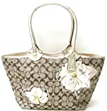 Coach Signature Bleecker Flower Floral Applique Shopper Bag Tote 16276 Khaki