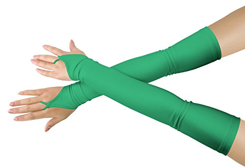 JustinCostume Arm Mitts Long Moon Fingerless Opera Length Gloves Clover Green - Poison Ivy Gloves