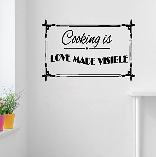 (psiuea Wall Sticker Quote Wall Decal Funny Wallpaper Removable Vinyl Cooking is Love Made)