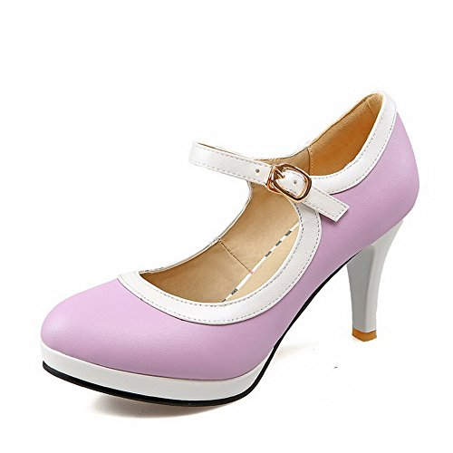 AmoonyFashion Womens Blend Materials High Heels Round Closed Toe Assorted Color Pumps-Shoes Purple DK2a9y