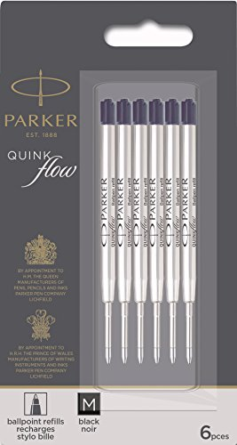 Parker QUINKflow Ballpoint Pen Ink Refills, Medium Tip, Black, 6 Count Value Pack -