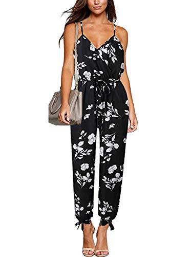 Glamaker Women's Casual V Neck Tie Waist Sleeveless Strap Floral Slit Jumpsuit with Pockets Black