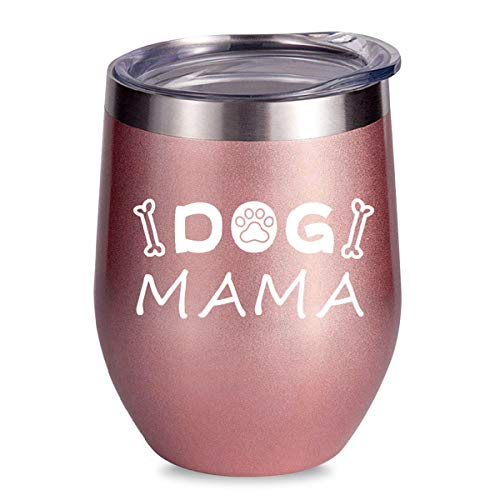 ALISISTER Dog Mama Mug Insulated Stainless Steel Wine Tumbler Stemless Funny Cold Wine 3D Printed Glass 12Oz Coffee Cups With Lid Gold Rose (3d Printed Glasses)
